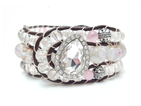 Pink Charming Beaded Cuff - HaJuls