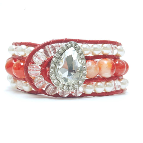 Leather Wrap Red Agate Beaded Cuff Bracelet - HaJuls - 1