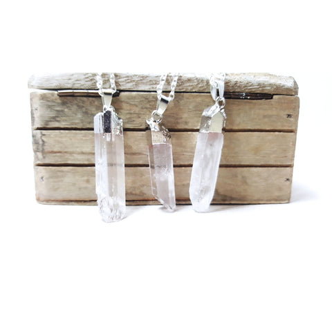 Raw Quartz Crystal Point Pendant Silver Plated Necklace