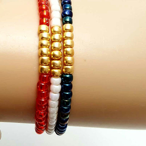 Set of USA Olympic Seed Bead Stackable Stretch Bracelet - HaJuls - 3