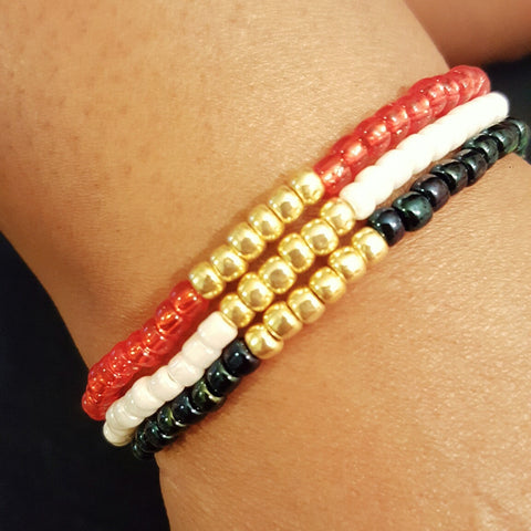 Set of USA Olympic Seed Bead Stackable Stretch Bracelet - HaJuls - 4
