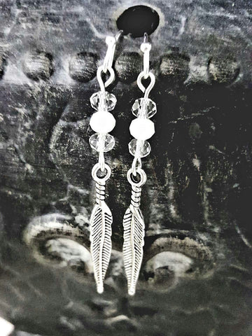 Crystal Beaded Feather Earrings - HaJuls - 4