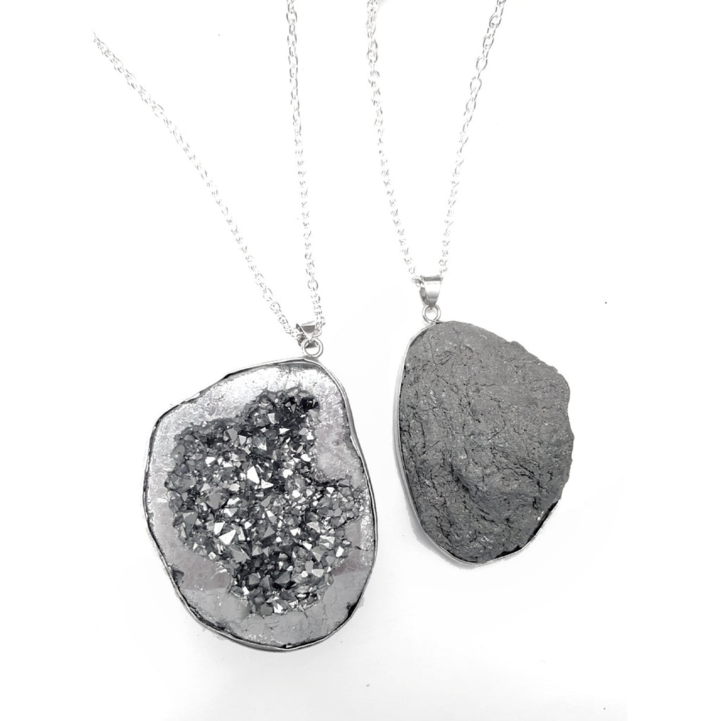 "Silver Geode Quartz Crystal Rock Pendant Silver Plated 30"" Necklace"