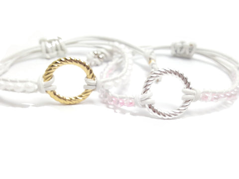 White Leather Drop Bead Gold Plated Infinity Circle Handmade Mother's Day Wrap Bracelet