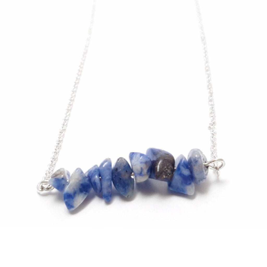 Blue Agate Gemstone Chip Bar 925 Silver Plated Necklace