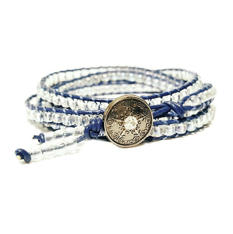4 Layer Minimalist Denim Blue Leather Seed Bead Wrap Bracelet - HaJuls