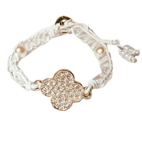 Clover Pearl White Leather Wrap Bracelet - HaJuls