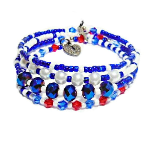 USA Olympic Memory Wire 4 Layer Bracelet - HaJuls - 1