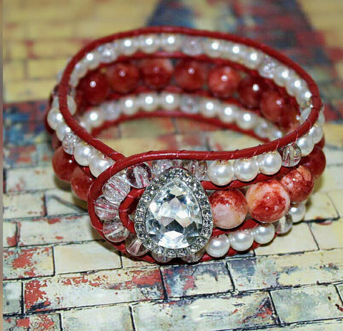 Leather Wrap Red Agate Beaded Cuff Bracelet - HaJuls - 3