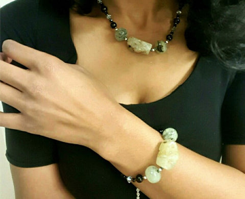 Prehnite Gemstone Necklace and Bracelet Set - HaJuls - 1