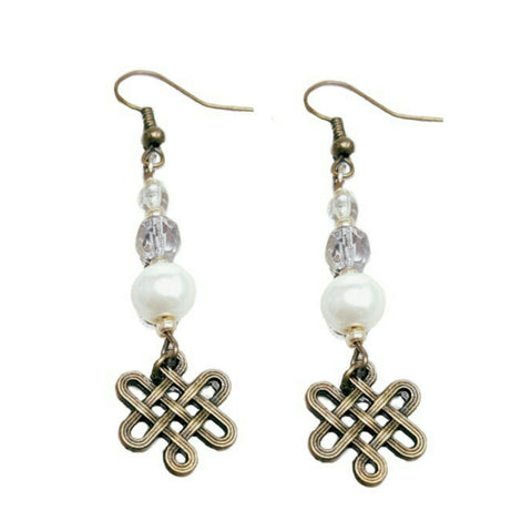 Amber Pearl Infinity Knot Earrings - HaJuls - 1