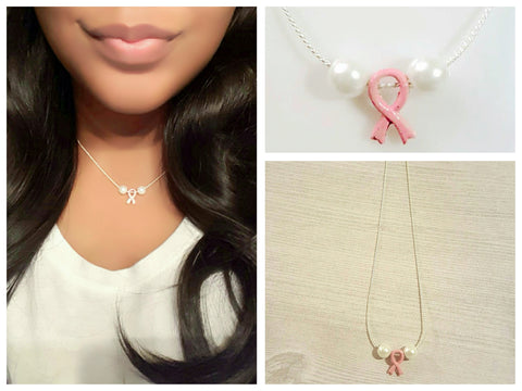 Breast Cancer Awareness Pearl Necklace