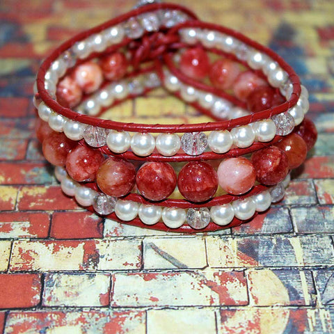 Leather Wrap Red Agate Beaded Cuff Bracelet - HaJuls - 2