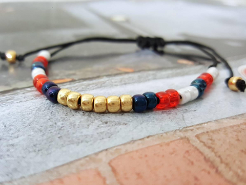 USA Patriotic Seed Bead Adjustable Bracelet