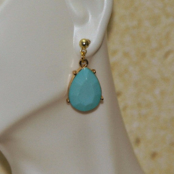 Faceted Stone Teardrop Earrings - HaJuls - 1
