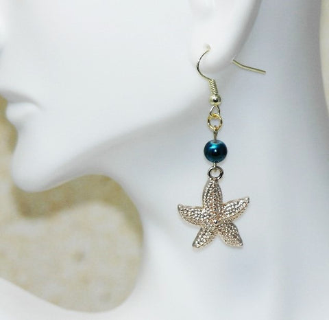 Sale - 25% Off Blue Starfish Earrings - HaJuls - 2
