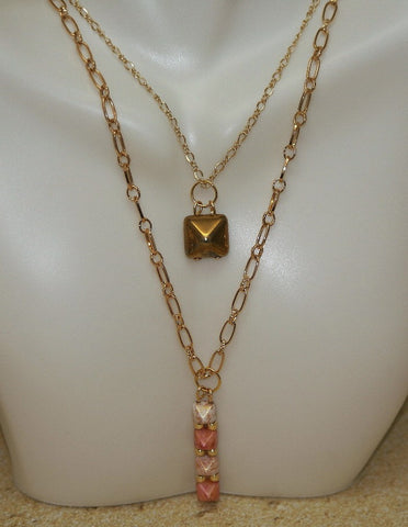 Pink Stone Small Pyramid Necklace - HaJuls - 2