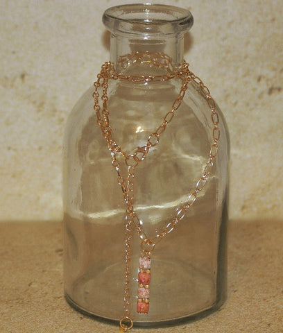 Pink Stone Small Pyramid Necklace - HaJuls - 3