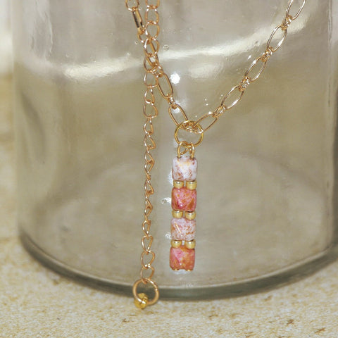 Pink Stone Small Pyramid Necklace - HaJuls - 1