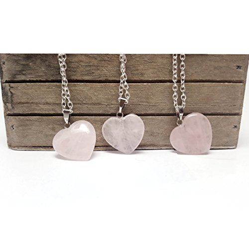 Pink Rose Quartz Heart Pendant Sterling Silver Plated Necklace