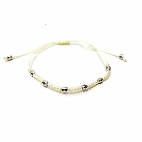 Silver Beaded Macrame Friendship Bracelets