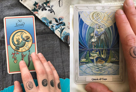 Animal Medicine cards (left) Thoth tarot deck (right)