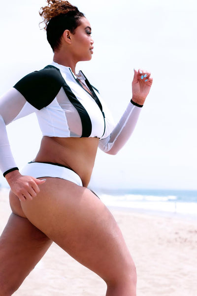 "White ""Jade"" Rash-Guard Jacket"