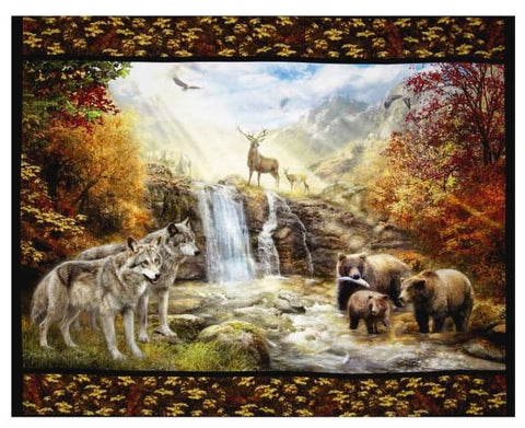 "Kaufman Digital 35"" Panel Nature Scenic Double Border Nature Fabric - Afterpay"