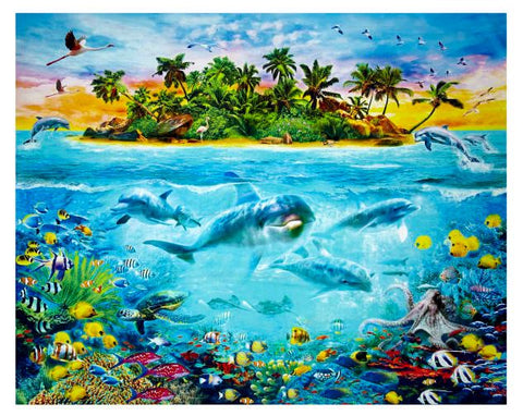 "Kaufman Digital 35"" Panel Tropical Scenic Ocean Fabric - AfterPay"