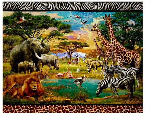 "Kaufman Digital 35"" Panel African Scenic Double Border Wild Fabric - Afterpay"