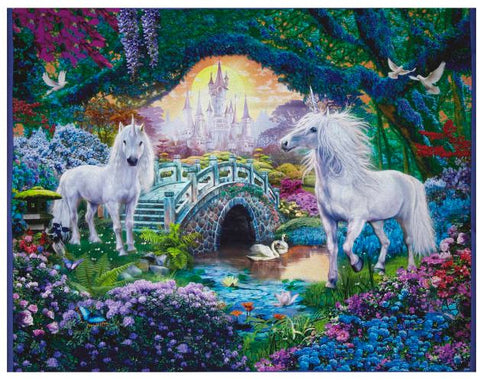 "Kaufman Digital 35"" Panel Unicorn Scenic Sweet Fabric - AfterPay"
