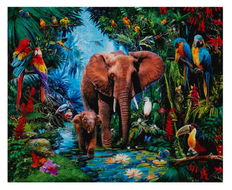 "Kaufman Picture This Digital 36"" Panel Elephants Jungle Fabric - AfterPay"