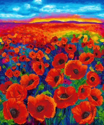 "I Dream Of Poppy Digital Print - 36"" Panel Bright Fabric"