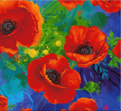 I Dream Of Poppy Digital Print - Allover Poppies Royal Fabric