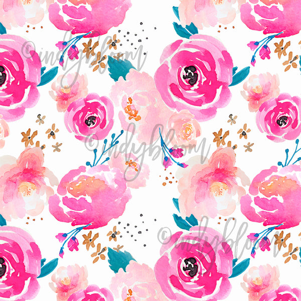 Watercolor Florals | Little Punchy Floral in Fuchsia - afterpay