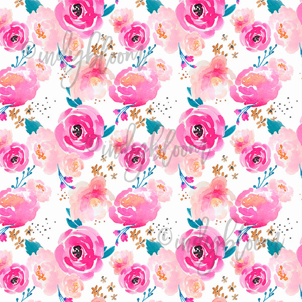 Watercolor Florals | Little Punchy Floral in Fuchsia