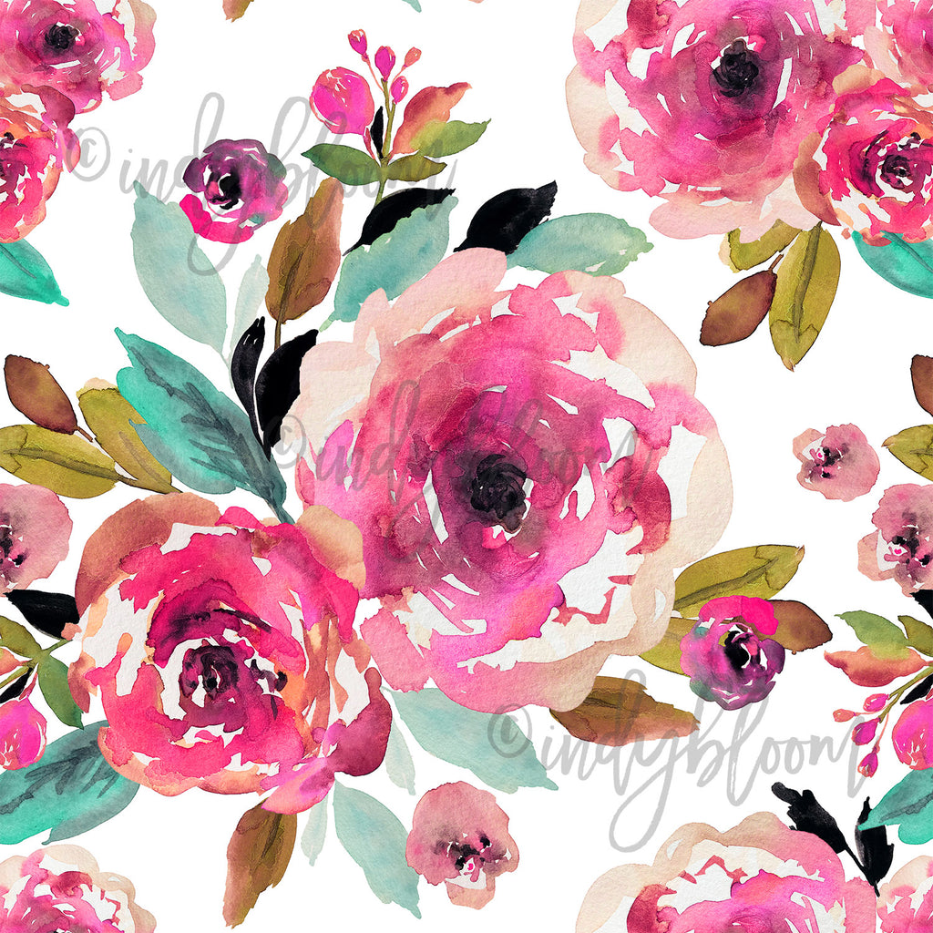 Watercolor Florals | Large Roselynn Floral in Magenta on White - afterpay