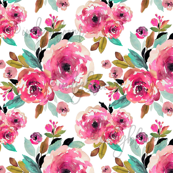 Watercolor Florals | Large Roselynn Floral in Magenta on White