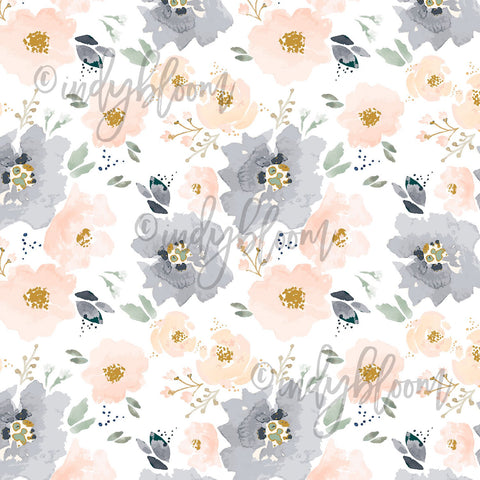 Watercolor Florals | Full Bloom Floral in Peach and Navy - afterpay