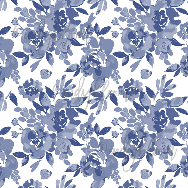Watercolor Florals | Peony Floral in Indigo - afterpay