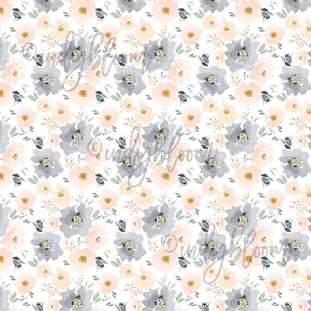 Watercolor Florals | Tiny Full Bloom Floral in Peach and Navy