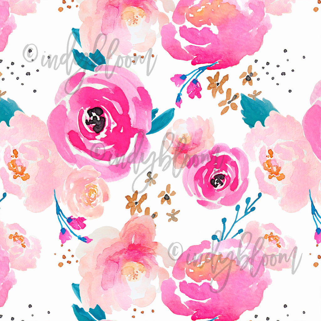Watercolor Florals | Punchy Floral in Fuchsia - afterpay