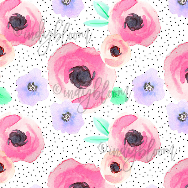Watercolor Florals | Pin Dot Floral in Flirty - afterpay