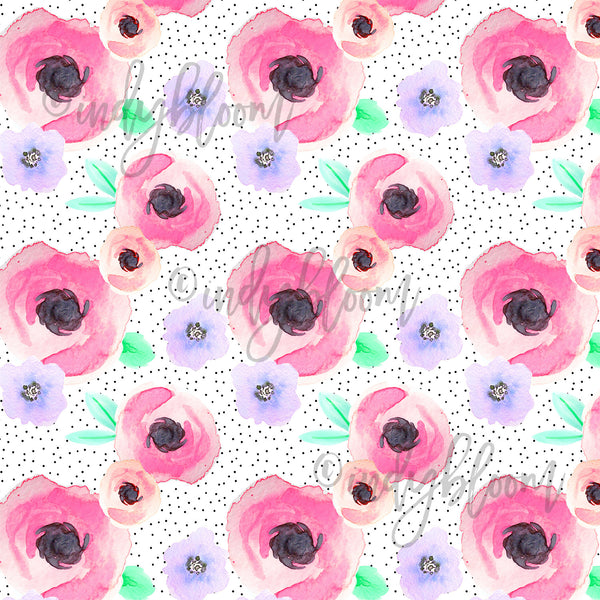 Watercolor Florals | Pin Dot Floral in Flirty