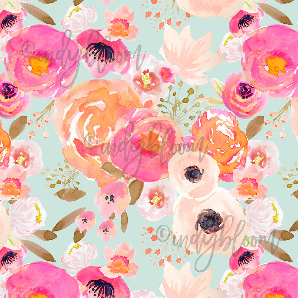 Watercolor Florals | Little Blushing Floral in Melon on Mist - afterpay