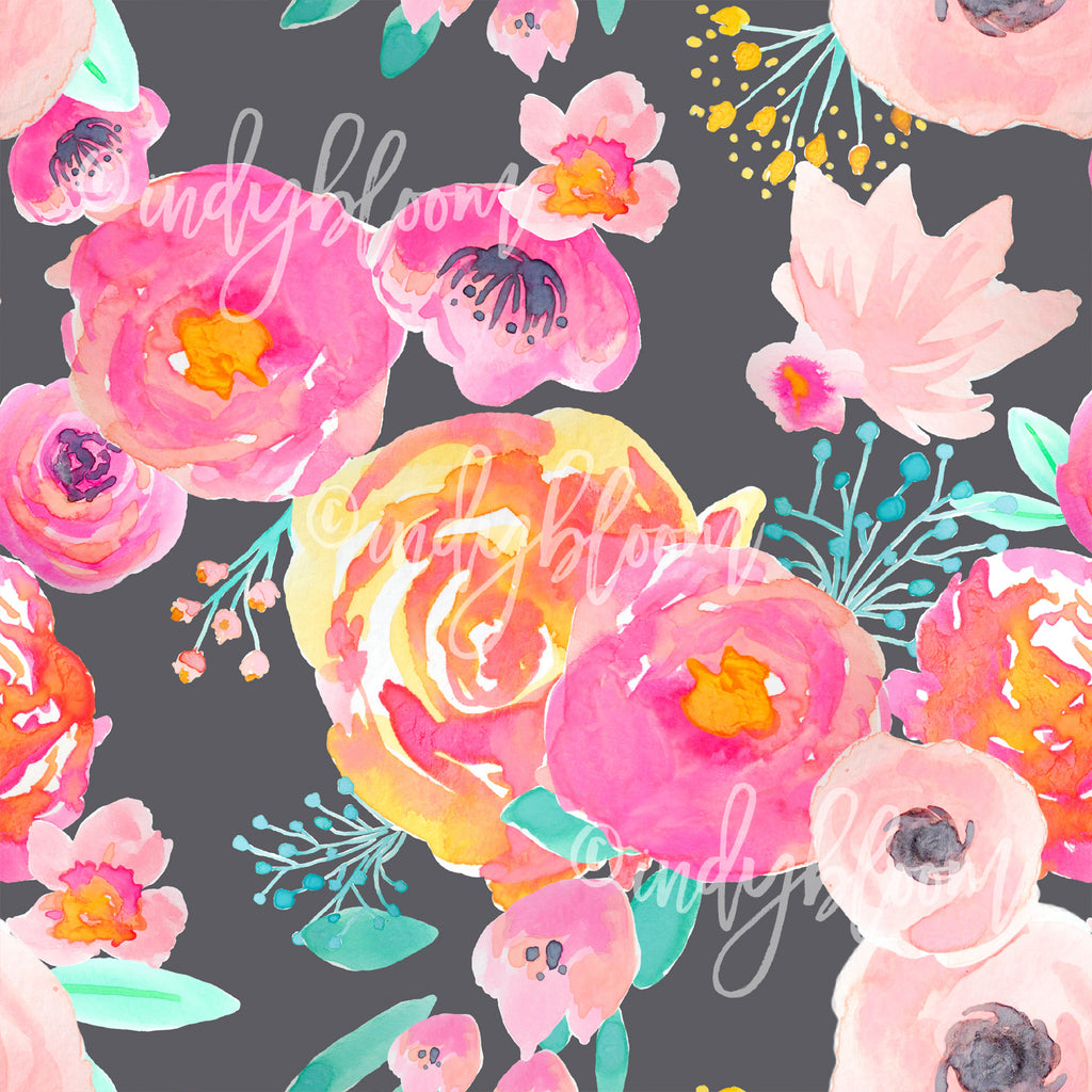 Watercolor Florals | Blushing Floral in Fuchsia on Grey - afterpay