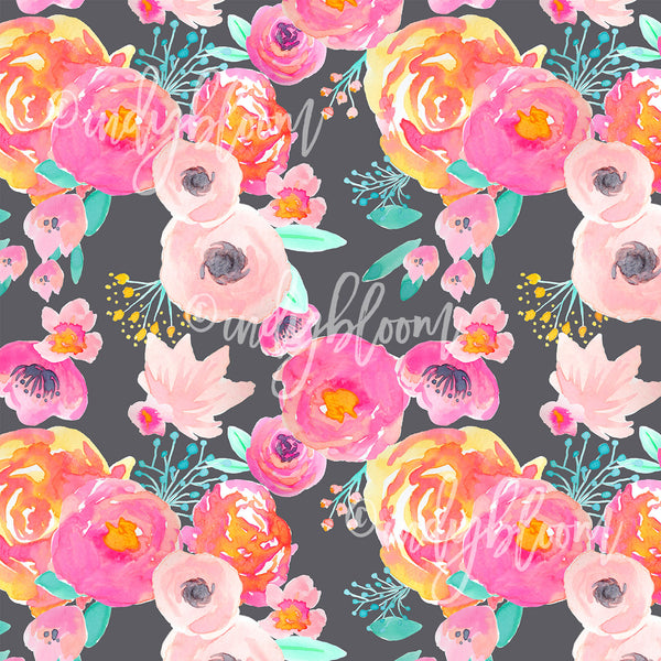 Watercolor Florals | Blushing Floral in Fuchsia on Grey