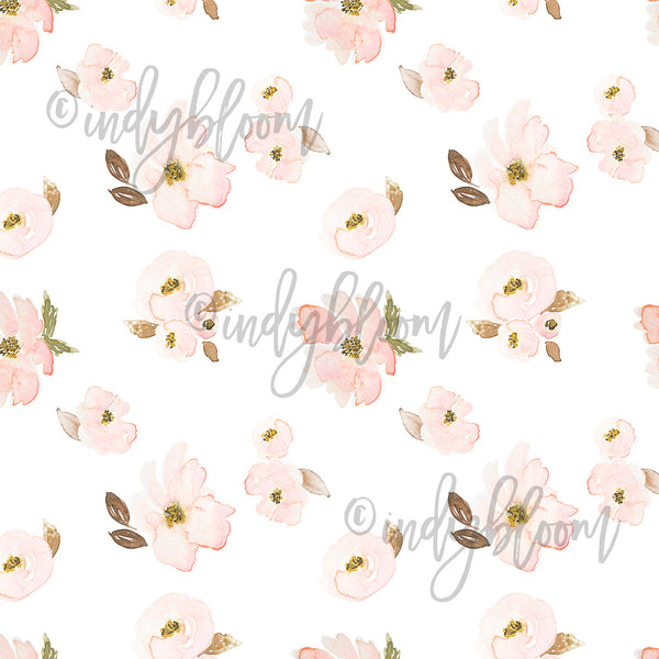 Watercolor Florals | Tossed Floral in Rose