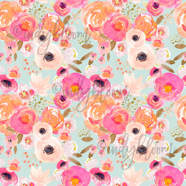 Watercolor Florals | Little Blushing Floral in Melon on Mist