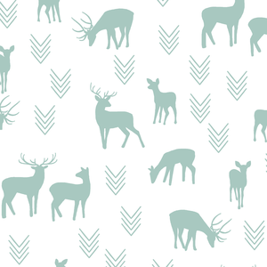 Hawthorne Threads - Deer Silhouette on White - Deer Silhouette on White in Aspen
